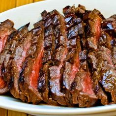 Marinated Flank Steak Recipe; this recipe has been pinned 78,000+ times! Any beef lover will enjoy this marinated and grilled flank steak. [from Kalyn's Kitchen] #LowCarb #GlutenFree #SouthBeachDiet #SummerFood