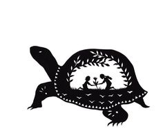 Folk Turtle Silhouette Paper Cutting from Thicket by Jenny Lee Fowler
