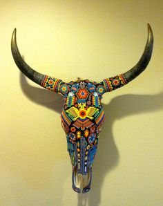 SALE   Vintage Huichol Beaded Bull Skull Tribal Art. $455.00, via Etsy.