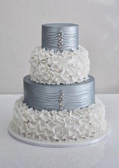 Silver and white wedding cake #watters #wedding #cake www.pinterest.com/wattersdesigns/