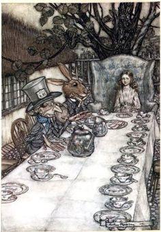 "Amazon.com: 6"" x 4"" Greetings Card Arthur Rackham Alice in Wonderland A Mad Tea Party: Home & Kitchen"