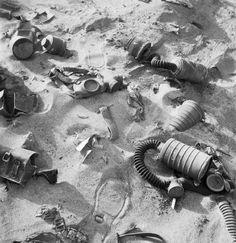 Italian gasmasks abandoned in the Western Desert during 1942.