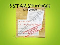 5 STAR Sentences (Easy) from The Reading Corner on TeachersNotebook.com -  (14 pages)  - This package includes 14 activity sheets, a Large 5 Star Sentence Direction sheet and a page to write the sentences on.