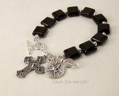 Rosary Bracelet Holy Spirit Black Onyx by LaudeArtsandGifts, $19.99