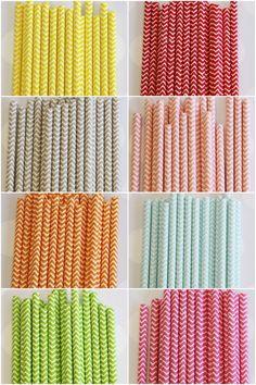 Chevron Print Paper Straws