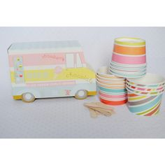 Ice Cream Van Ice Cream Cups | 12ct for $11.95 in Popcorn, Cotton Candy & Sno-Cone Supplies - Party Fun