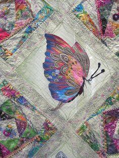 beauti butterfli, butterflies, amaz work, stitch butterfli, art, quilts, butterfli quilt, quilt idea, crazi quilt
