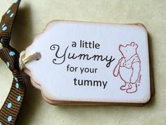 Yummy in Your Tummy Tags Labels Favors - Winnie the Pooh - Classic Pooh - Party Favors