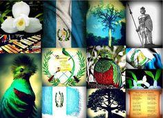 Símbolos patrios La Monja Blanca, La Bandera con el Pabellón nacional, la Ceiba, la marimba, el Quetzal, El pabellón nacional y la letra de nuestro hermoso Himno.