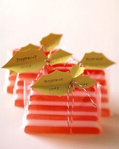 Homemade candy striped soaps are a lovely Christmas stocking stuffer for her.