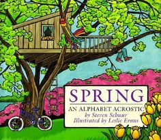 """Describes spring, with its animals, green smells, and renewed outside activities. When read vertically, the first letters of the lines of text spell related words arranged alphabetically, from """"April"""" to """"zenith."""""""