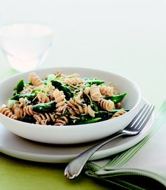 Fresh snap peas and asparagus lighten up a pasta dinner (and add plenty of vitamins). #myplate #grains #vegetables