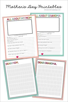 Fun fill in the blank Mother's Day Printable- for both Grandma and Mom | Thirty Handmade Days
