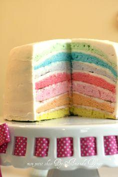 Pastel rainbow layered cake.
