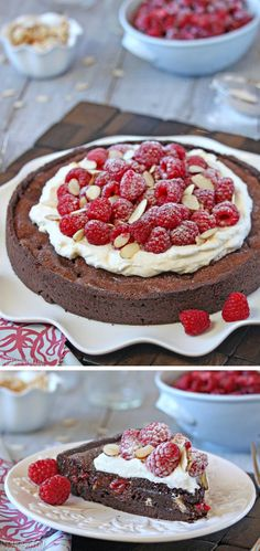 Chocolate Raspberry Almond Truffle Tart - with a rich, gooey chocolate filling and lots of fresh raspberries! | From SugarHero.com