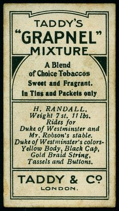 "Cigarette Card Back - Taddy's ""Grapnel"" 