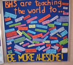 """Kid President """"Be More Awesome"""" bulletin board"""