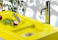 Bright Yellow kitchen sink!