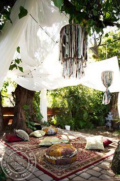 ethnic inspired outdoor nook