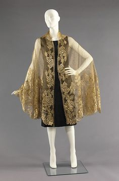 Evening shawl  Date: ca. 1925 Culture: French Medium: silk, metal Dimensions: 94 in. (238.8 cm) Credit Line: Brooklyn Museum Costume Collection at The Metropolitan Museum of Art, Gift of the Brooklyn Museum, 2009; Gift of Mrs. George A. Bonaventure in memory of Mrs. James Steel, 1965 Accession Number: 2009.300.2539