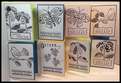 Simple doodled cards by Maria McGuire using StencilGirl stencils designed by Terri Stegmiller.