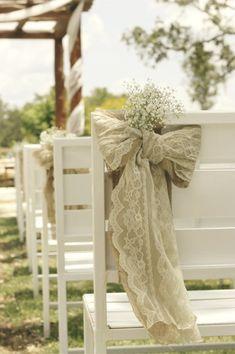 burlap, lace, and baby's breath bow wedding aisle decor