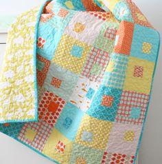 Turquoise + orange quilt