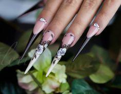 stiletto nail, nail inspir, floral nail, nail nail, nail art