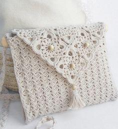 White Crochet Bag - Free Crochet Diagram - (clubmasteric)
