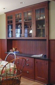 The Kennebec Co., Maine. Stained, quartersawn oak breakfast bar.
