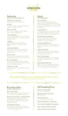 Wedge & Fig dinner menu, designed by Push 10 Design Studio. #menu #design #typography #restaurant Lovely menu, simple design. I like the yellow accent color and the logo in yellow under DINNER MENU. The split page makes it organized and readable. Nice typefaces too