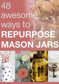 48 awesome ways to repurpose mason jars craft mason, repurpos mason, repurposed jars, mason jars