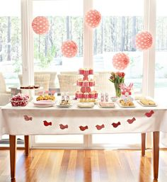 pink dessert table x #dessert #table #pink #white #cupcakes #birds #flowers #polka #dots #cookies #candy #buffet