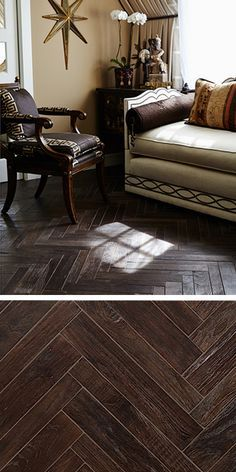 Walker Zanger's AnTeak Large Herringbone in Coffee makes a rich statement in this living room. AnTeak is crafted from reclaimed teak wood and is FSC certified.