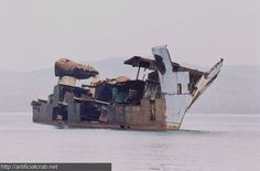 Ghost looking shipwreck of the Khrabryy, Russian destroyer, near Vladivostok, Sea of Japan, Russia