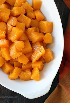 An easy Fall side dish made with pure maple syrup, goes perfect with roasted chicken!