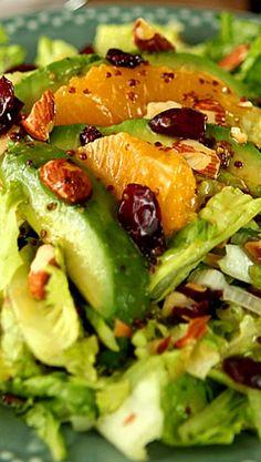 Avocado and Orange Chopped Salad with Orange Honey Mustard Dressing
