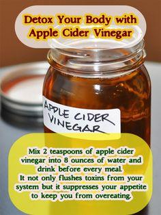 Detox Your Body with Apple Cider Vinegar #detox #applecidervinegar #vinegar #cleanse
