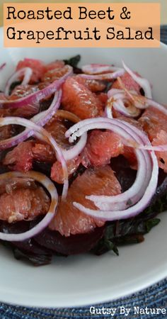 Roasted Beet with Beet Greens and Grapefruit Salad - Gutsy By Nature #21dsd #beets #grapefruit
