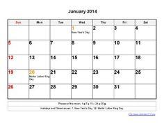 Printable Calendar 2014 January Templates