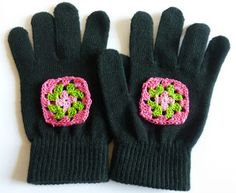 Add a personal touch and crochet some granny squares to gloves. Try it out in Vanna's Palettes. Tutorial by Crochet Dynamite.