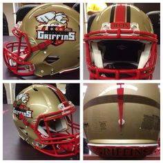 "The Seton Hill University Griffins will be taking the field in 2014 with a brand new helmet look that includes their University logo on the sides of the helmet, a bronco style helmet stripe down the center, ""ALL IN"" on the front bumper and ""GRIFFINS"" on the back bumper.  The team is excited about the new year, new team and new look for 2014.   Good luck this year!  Look great, play great!   #footballhelmetdecals #footballdecals #footballhelmetstripes #helmetdecals #helmetswag #healyawards"