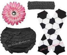 Kickin' It With Style Special! Only $10.27 for this cute outfit! Black lace baby bloomers, soccer leg warmers, black crochet headband, and pink Gerber daisy flower hair clip for little girls. SO CUTE!