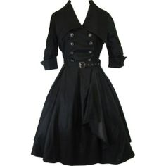 Chicstar Gothic Lolita Black Belted Military Swing Dress