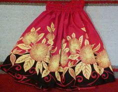 A hula pa'u hula skirt true red black and bright by SewMeHawaii, $45.00