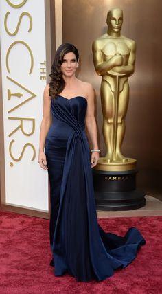 Sandra Bullock in  jewel-toned Alexander McQueen. #AcademyAwards #redcarpet