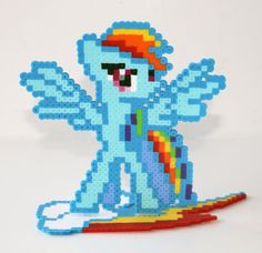 Perler Bead My Little Pony Friendship is Magic ainbow Dash (ver. 2) with Cutie Mark Stand by NerdyNoodleLabs