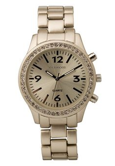 Matte Gold-colored Embellished Boyfriend Watch (original price, $20) available at #Maurices