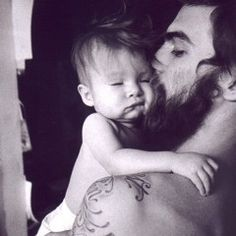 sexy men with babies>>>> baby tattoos, real man, future husband, baby daddy, future family, baby faces, tattoo baby, bearded men, father