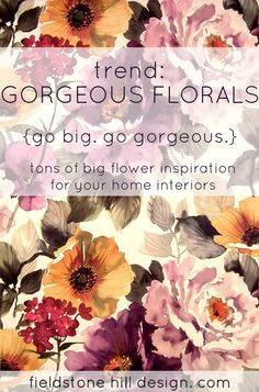 Stunning, gutsy, vintage florals are back. An inspiring collection of floral interiors that will help you get your grandma-groove going. #interiors #decortrends #Springdecor #trend2014 #floral #grandma